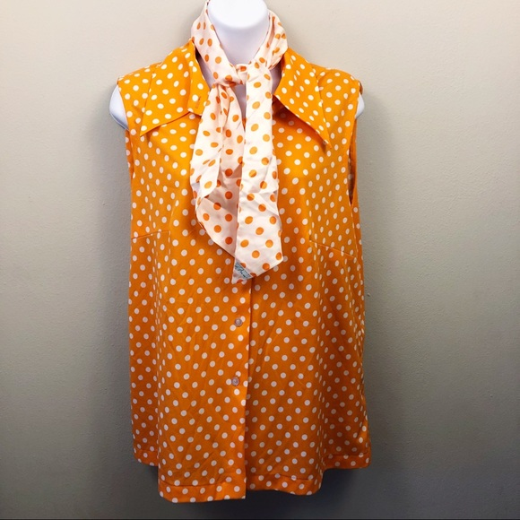 113e1a6701f Lane Bryant Tops - Lane Bryant Vintage Polka Dot Blouse with Scarf